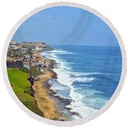 Old San Juan Coastline 3 Round Beach Towel