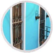 Old San Juan House In Historic Street In Puerto Rico Round Beach Towel