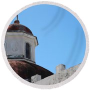 Old San Juan Puerto Rico Downtown Church Round Beach Towel