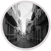 Old San Juan Puerto Rico Downtown On The Street Round Beach Towel
