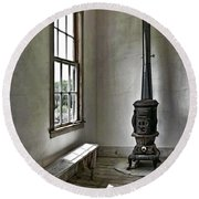 Old School House Stove Round Beach Towel