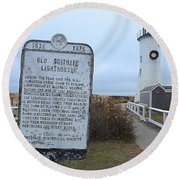 Old Scituate Lighthouse Round Beach Towel
