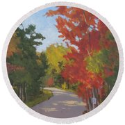 Old Scoolhouse Road Fall - Art By Bill Tomsa Round Beach Towel
