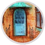 Old Service Station With Blue Door Round Beach Towel
