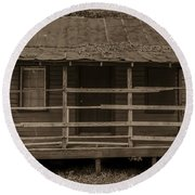 Old Shack In Sepia Round Beach Towel
