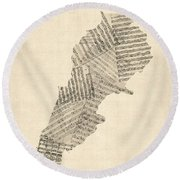 Old Sheet Music Map Of Lebanon Round Beach Towel