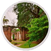Old Sheldon Church Ruins 3 Round Beach Towel