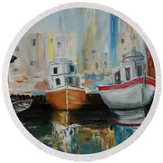 Old Ships At Dock Round Beach Towel