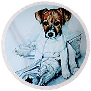 Old Shoe Pup Round Beach Towel