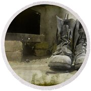 Old Shoes Round Beach Towel