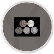old silver II Round Beach Towel