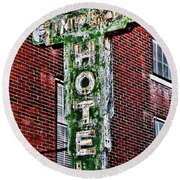 Old Simpson Hotel Sign Round Beach Towel