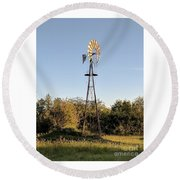 Old Southern Windmill Round Beach Towel
