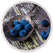 Old Spoon And Blueberries Round Beach Towel