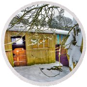 Old Stable - Silent Winter Round Beach Towel