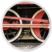 Old Steam Locomotive Iron Rusty Wheels Round Beach Towel