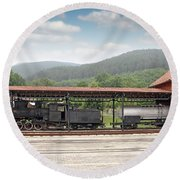 Old Steam Locomotive On Railway Station Round Beach Towel