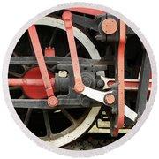 Old Steam Locomotive Wheels Round Beach Towel