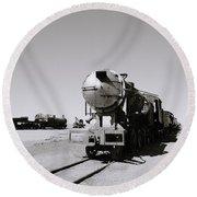 Old Steam Train Round Beach Towel