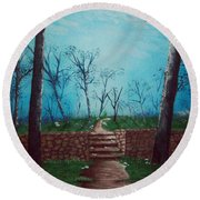 Old Steps To The Horizon Round Beach Towel