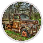 Old Still Art 1947 Ford Stakebed Pickup Truck Ar Round Beach Towel