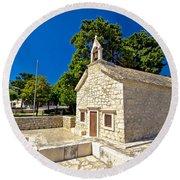 Old Stone Chapel In Primosten Round Beach Towel