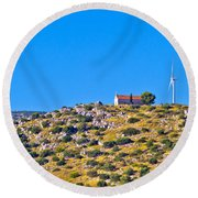 Old Stone Church And Green Energy Plant Round Beach Towel