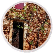 Old Stone House In Provence Round Beach Towel