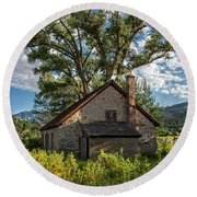 Old Stone Ranch Structure Round Beach Towel
