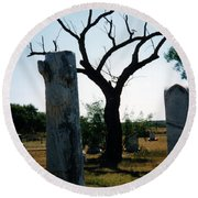 Old Stones In Old Cementery Round Beach Towel