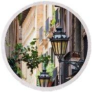 Old Street Light In Barcelona, Spain Round Beach Towel