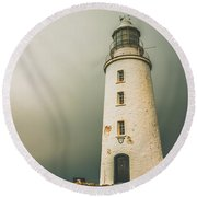 Old Style Australian Lighthouse Round Beach Towel