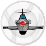 Old Style Fighter Aircraft Round Beach Towel