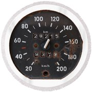 Old Tachometer Round Beach Towel