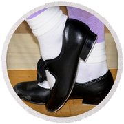 Old Tap Dance Shoes With White Socks And Wooden Floor Round Beach Towel