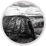 Old Tarred Boat On Holy Island 2 Round Beach Towel