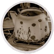 Old Tea Kettle In A Miner's Cabin Round Beach Towel