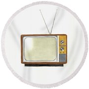 Old Television Set Round Beach Towel