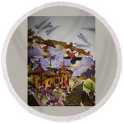 Old Temples Round Beach Towel