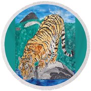 Old Tiger Drinking Round Beach Towel