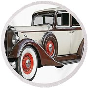 Old Time Auto Round Beach Towel