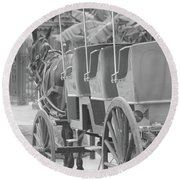 Old Time Horse And Buggy Round Beach Towel