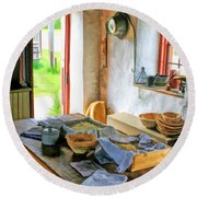 Old Time Kitchen At Old World Wisconsin Round Beach Towel