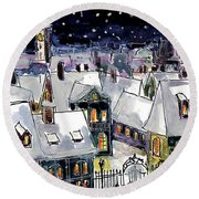 Old Time Winter Round Beach Towel