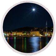 Old Town At Night Round Beach Towel