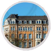 old Town buildings in Aachen, Germany Round Beach Towel