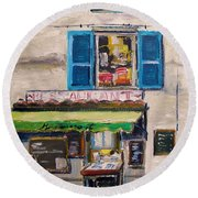 Old Town Cafe Round Beach Towel