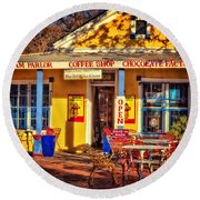 Old Town Ice Cream Parlor Round Beach Towel