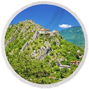 Old Town Knin On The Rock View Round Beach Towel