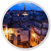 Old Town Of Porto In Portugal At Dusk Round Beach Towel